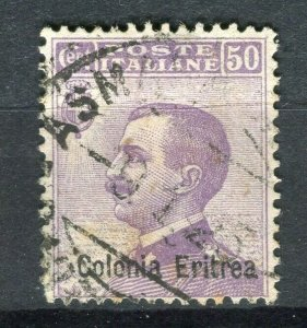 ITALY; ERITREA 1900s early Emmanuel issue fine used 50c. value