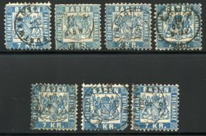 GERMANY STATES BADEN SCOTT# 28 MICHEL# 25 USED LOT OF 7 AS SHOWN