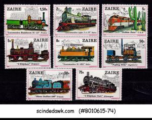 ZAIRE - 1979 HISTORY OF RAILWAY LOCOMOTIVES / TRAINS - 8V - MINT NH