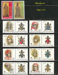 VATICAN MNH** 1998 Yeas set Scott 1063-1094 See all three...
