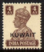 Kuwait 1945 KG6 4a brown unmounted mint light overall ton...