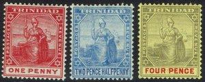 TRINIDAD 1904 BRITANNIA 1D 21/2D AND 4D WMK MULTI CROWN CA