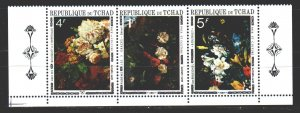 Chad. 1971. 374-77. Bouquets of flowers painting. MNH.
