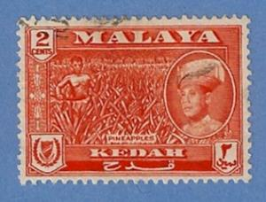Malaya Kedah 96 Used H Pencil Mark - Pineapple, Sultan Halim