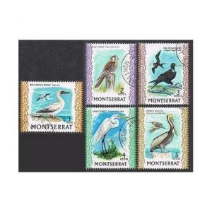 Montserrat 231-235,CTO. Birds 1970.Booby,Killy hawk,Frigate-bird,Egret,Pelican.