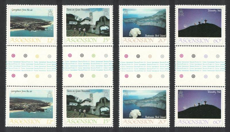 Ascension Island Views 1st series Gutter Pairs SG#337-340 SC#328-331
