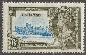 Bahamas stamp, Scott#94,  mint, hinged, 6D,  yellow/green, #94