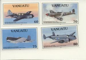 1995 Vanuatu WWII Aircraft  (Scott 664-67) MNH