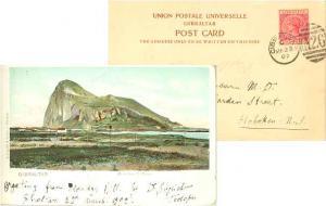 Gibraltar 1d QV 1902 Gibraltar A26 duplex PPC (Rock from S. Felipe) to Hoboke...