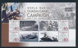 [81141] Gambia 2008 Second World war Guadalcanal campaign Sheet MNH