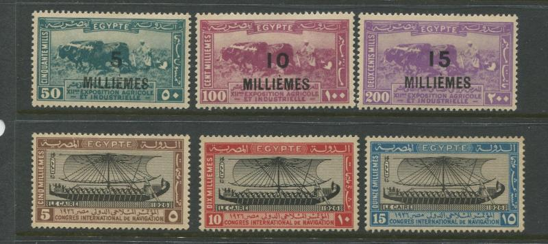 Egypt - Scott 115-120 - General Issue -1926 - MH - 2 Sets of 3 Stamps