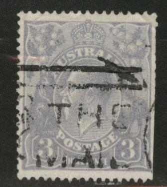 Australia Scott 30 used 3p ultra KGV 1924 straight edge