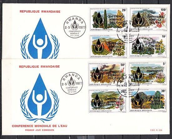 Rwanda, Scott cat. 801-808. Water Conference issue. Long 2 First day covers.