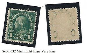 Scott 632 Mint light hinge - Very Fine