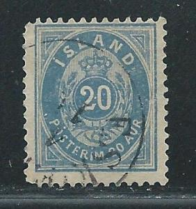 Iceland 28 1896-1901 20a Numeral single Used (z3)