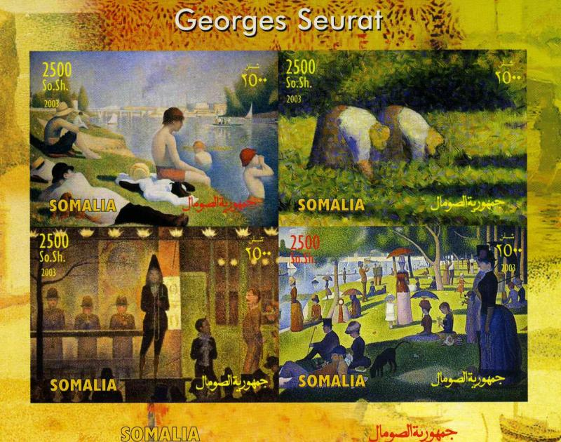 SOMALIA 2003 Georges Seurat Paintings Sheet (4) Imperforated mnh.vf