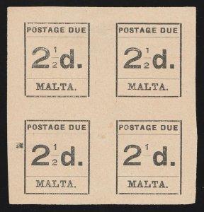 MALTA : 1925 Type-set Postage Due 2½d black, block, error '2' of '½' OMITTED.