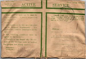 WWI 1918 GB Active Service free postage cover