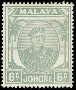 MALAYSIA - Johore SG137, 6c grey, M MINT.