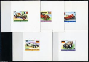UPPER VOLTA SET OF FIVE CARS DELUXE SOUVENIR SHEETS ON CARD MINT
