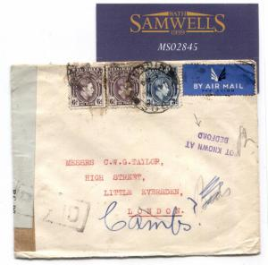 MS2845 WW2 NIGERIA AIR INTERRUPTED MAIL Censor Cover GB *NOT KNOWN AT BEDFORD*