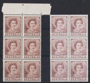 APD523) Australia 1962 QEII 2d Pale brown ACSC 348B, block of 6 with light
