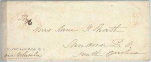 72329 - UNITED STATES USA - PREPHILATELIC Cover:  Scuppernong , N.C.  1800s