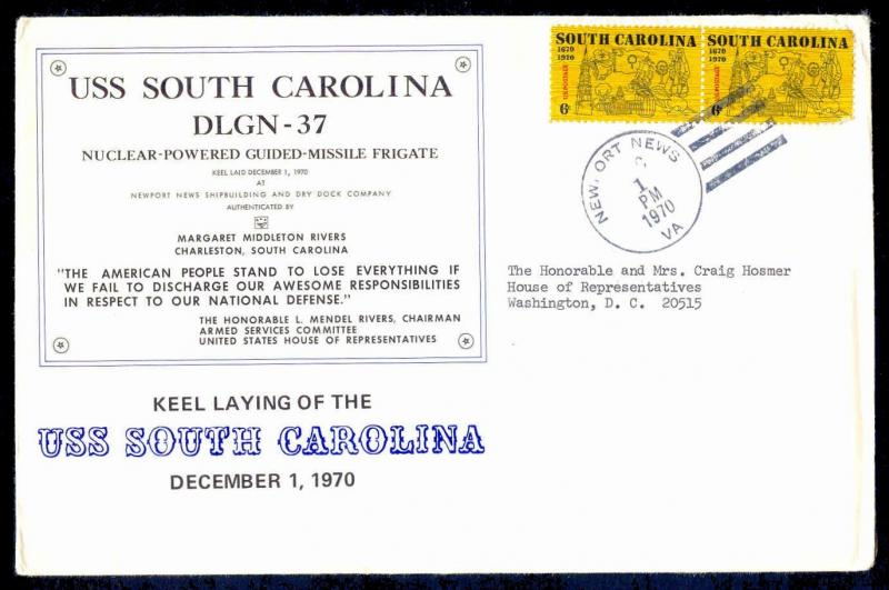 US - USS South Carolina DLGN-37 Keel Laying Cover & Ceremony Program