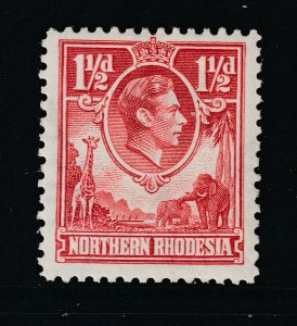 Northern Rhodesia a MG 1.5d red KGVI from 1938