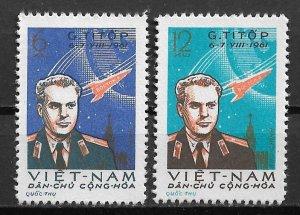 1961 Vietnam 174-5 Cosmonaut Gherman Titov's Space Flight C/S of 2 Mint/NGAI
