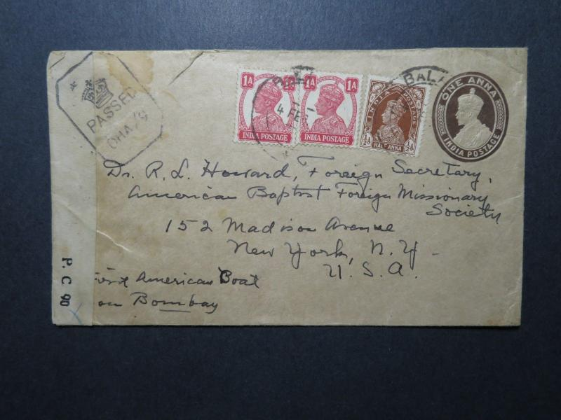 India WWII Uprated Stationery Cover to USA / Dual Censor - Z11693