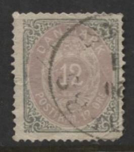 Denmark - Scott 29b - Definitive Issue -1875 - Used - Single 12s Stamp