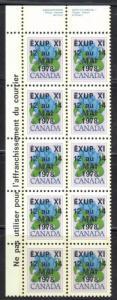 CANADA #705iii VF NH UL Corner Block of 10 *Overprinted EXUP 1978*