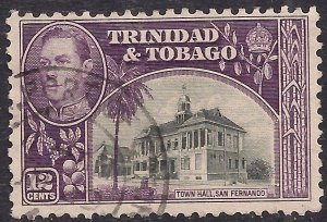Trinidad & Tobago 1938 - 44 KGV1 12ct Black & Purple used SG 252 ( M973)