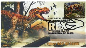 19-189, 2019, Tyrannosaurus Rex, Pictorial Postmark, First Day Cover, T-rex