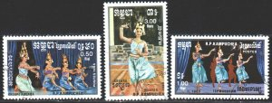 Kampuchea. 1985. 663-65. Traditional dances. USED.