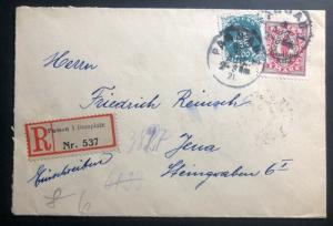 1921 Passau Germany Registered Cover To Jenna