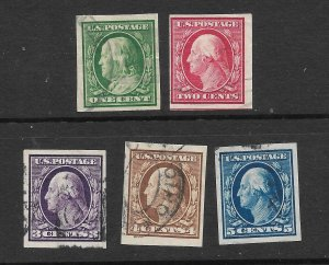 Doyle's_Stamps: Used Imperf Set, Scott #343-#347