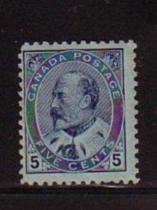 Canada Sc 91 1903 5 c blue Edward VII stamp mint