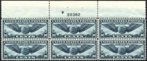 TOP Block of 6 USA Postage Sc# C24 Stamps Airmail TRANSATLANTIC ISSUE MINT NH