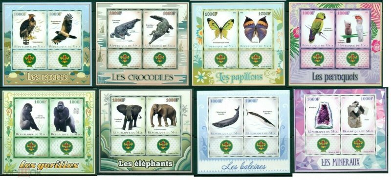 PE257-264 2013 MALI SCOUTING FAUNA BIRDS BUTTERFLIES WILD ANIMALS !!! 8KB MNH