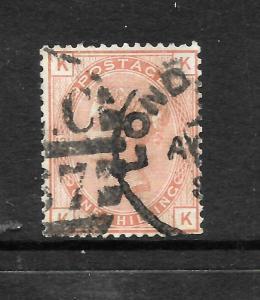GREAT BRITAIN  1873-80  1/-  ORANGE BROWN    QV   PLATE 13 GU   SG 151