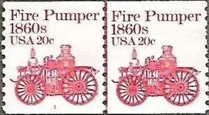United States #1908 20c Fire Pumper MNG coil line pair plate #1 (1981)