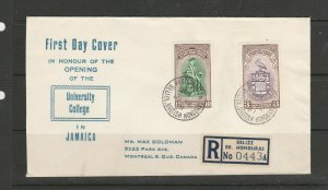 Br Honduras FDC 1951 College, Cacheted, Registered, Imprint address