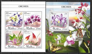 Maldive Islands SW 7878-82 Orchids m/s and s.s. MNH (lib)