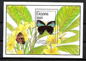 #1991 Guyana 1995 FLORA FLOWERS BUTTERFLIES SOUVENIR SHEET YV BL 46 MNH