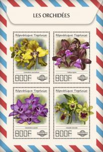 TOGO - 2017 - Orchids - Perf 4v Sheet - MNH