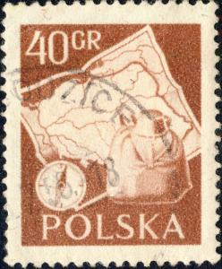 POLOGNE / POLAND 1956 Mi967A 40gr Hiking p.12 1/2:12 3/4 - VF Used