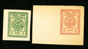 Canal Zone Stamps XF Lot of 2 Unused Cut Squares