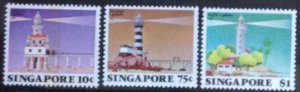 SINGAPORE 1982 LIGHTHOUSES SET AND MINISHEET SG427-9 .MS430  UNMOUNTED  MINT.